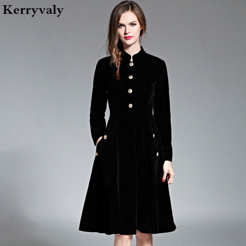 Inverno de veludo preto elegante dress vestidos mulheres 2017 vestido de manga longa do vintage das senhoras vestidos tunique femme dames jurken 72990