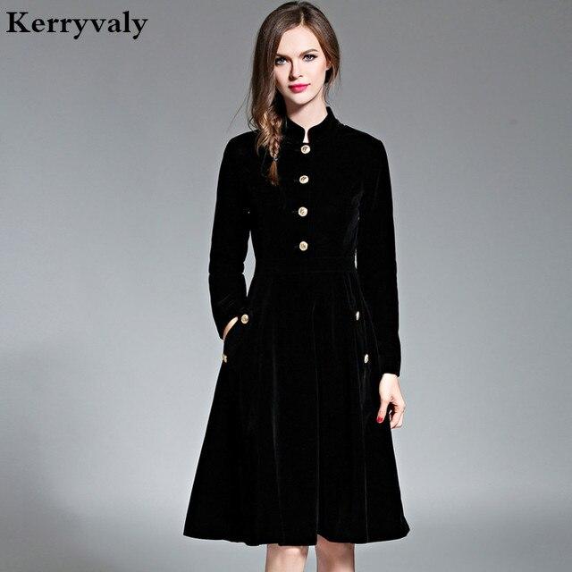 a1fc09c95ce912 Elegante Zwarte Fluwelen Jurk Winter Jurken 2019 Vestido Vintage Lange  Mouwen Dames Jurken Tunique Femme Dames