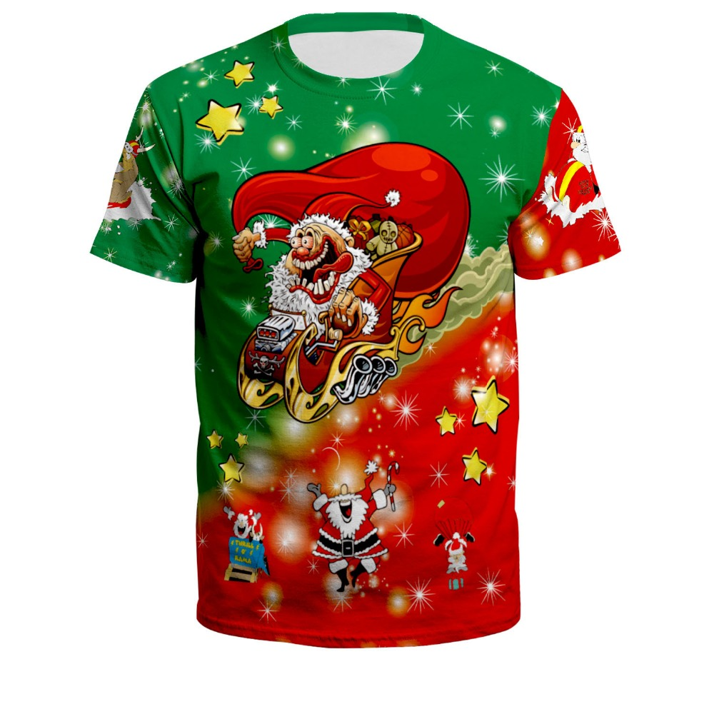 Newest Fashion Plus Size Men women T Shirt Merry Christmas Santa Claus /Trump Tees short Sleeve O-Neck Casual Tops XS-7XL