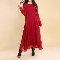 Women Dress Solid Color Red Color Plus Size 2XL Loose Cotton Linen Vintage Dress Long Sleeve