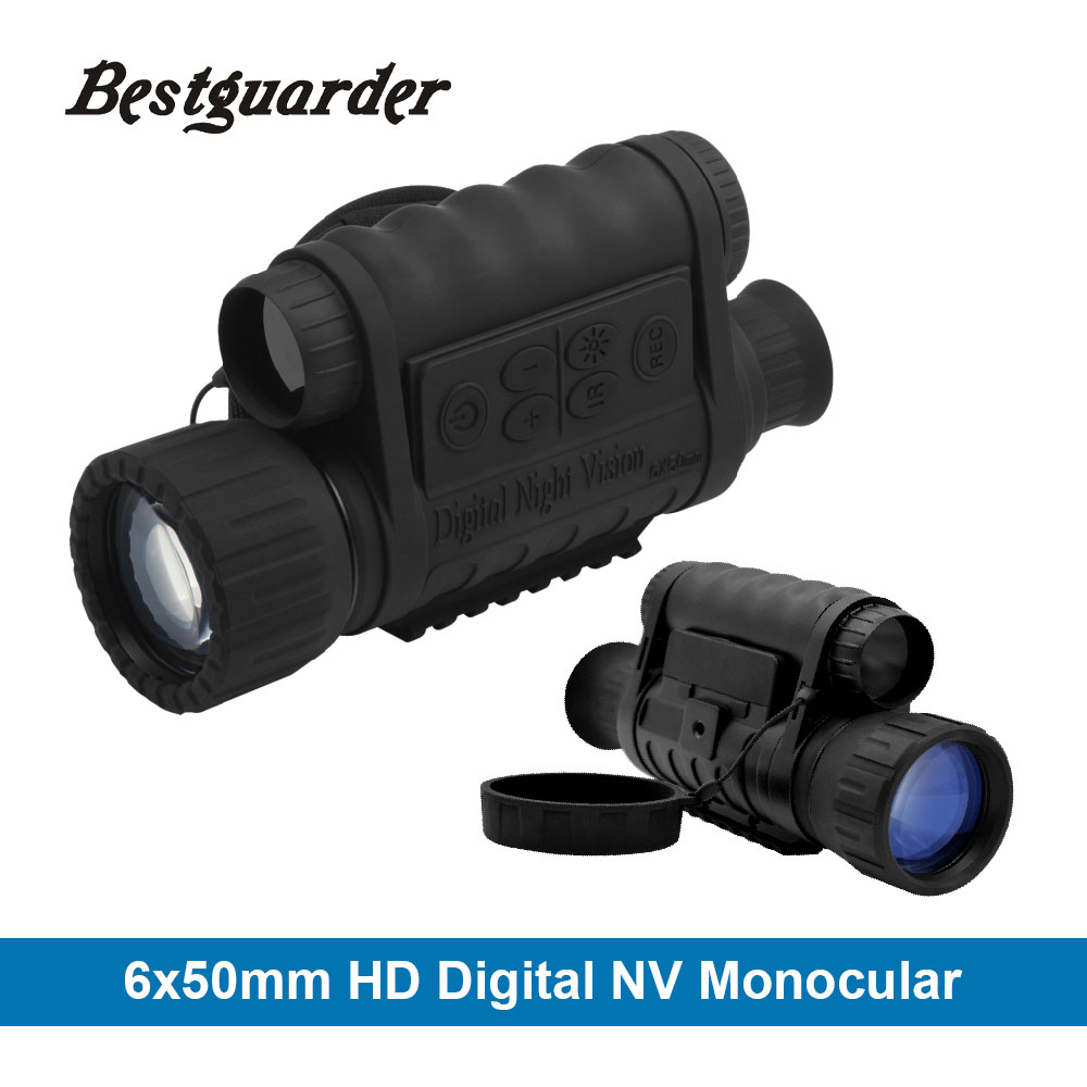 Bestguarder Digital Night Vision Monoculaire IR Faune 6x50mm 5MP HD Caméra Chasse Infrarouge 850NM Télescope de Vision Nocturne
