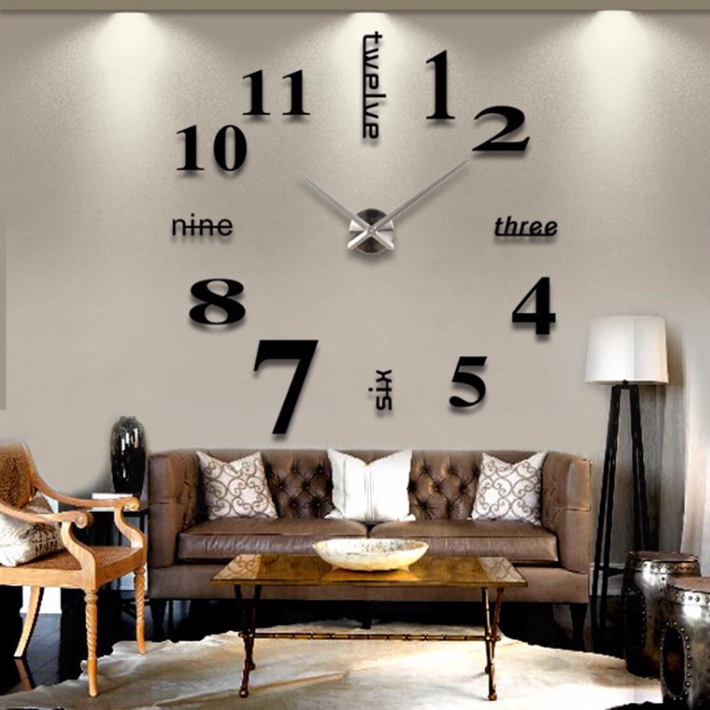3d Large English Letters Arabic Numbers Wall Clock Frameless Mirror Surface Oversize Clock Diy Art Watches