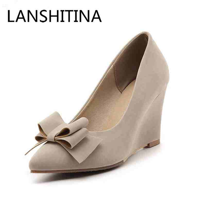 Fashion Butterfly-knot Pointed Toe Woman pumps Slingbacks high heels women shoes pumps Spring/Autumn Party Wedges pumps new flock high big size 11 12 women shoes wedges pointed toe woman ladies butterfly knot casual spring autumn sweet single shoes