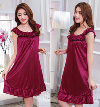Princess nightdress sexy female summer silk lady short sleeve sweet home service