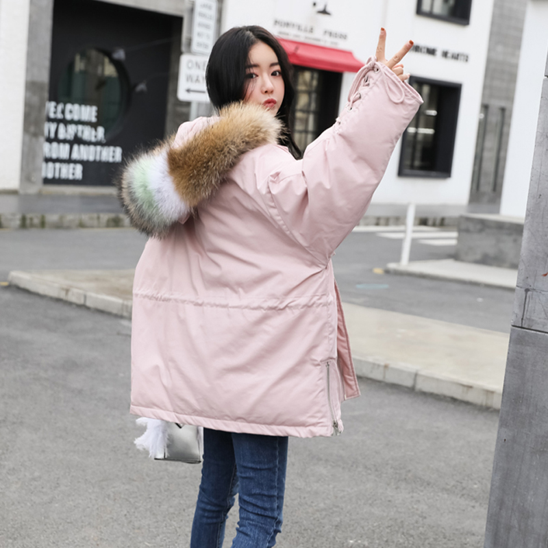 Real Laveur À rose Raton Vestes Capuche 2018 Et Manteaux Canard Blanc Hiver Big Fourrure 90Duvet kaki Femelle Femmes Chaud Épaissir Noir Manteau D'hiver Parka De Ybv7f6yIg