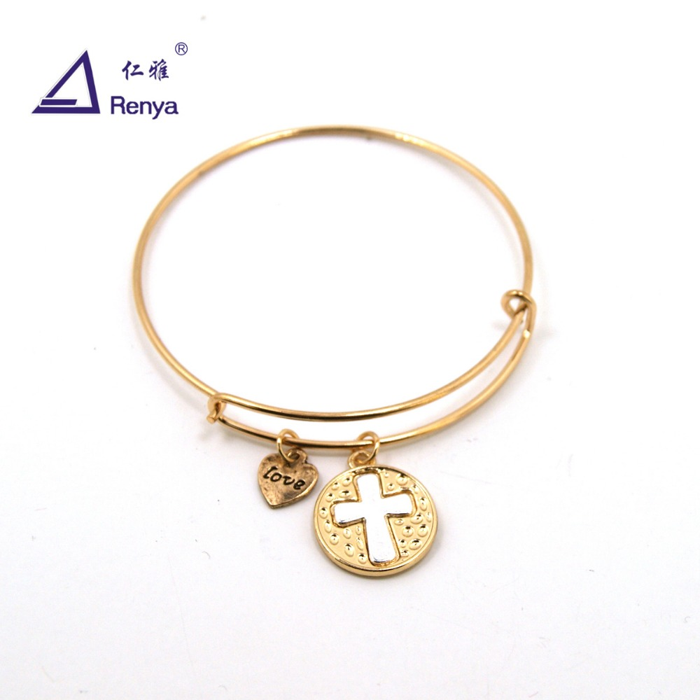 Renya Fashion Adjustable Bracelet Single Cross Heart Love Charm Metal Bangle