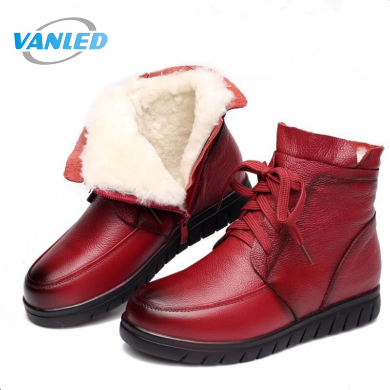 High quality Fur one wool shoes snow boots 2018 new winter ankle boots women shoes flat genuine leather shoes fashion boots women boots 2017 fashion shoes woman genuine leather wedges ankle boots winter wool snow boots women shoes