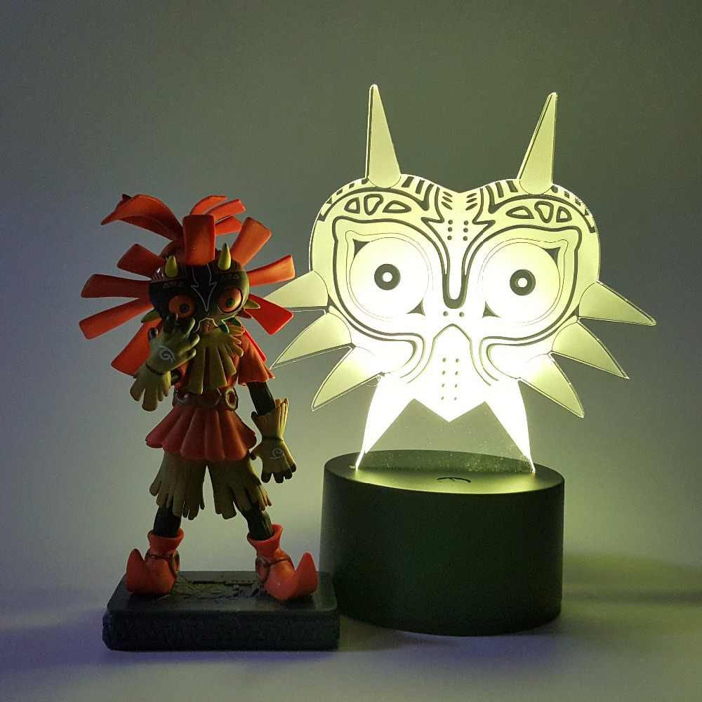 Zelda Skull Kid Majoras Mask Action Figure 3D ภาพลวงตา LED RGB USB Nightlight Link Anime เกมชุดของเล่น