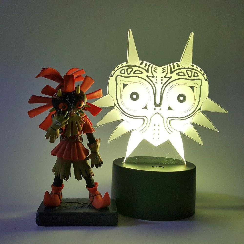 The Legend of Zelda Skull Kid Majoras Mask Action Figure 3D Visual Illusion LED RGB USB Nightlight Link Anime Game Toy Set  nendoroid the legend of zelda link majora s mask 3d figure with original box
