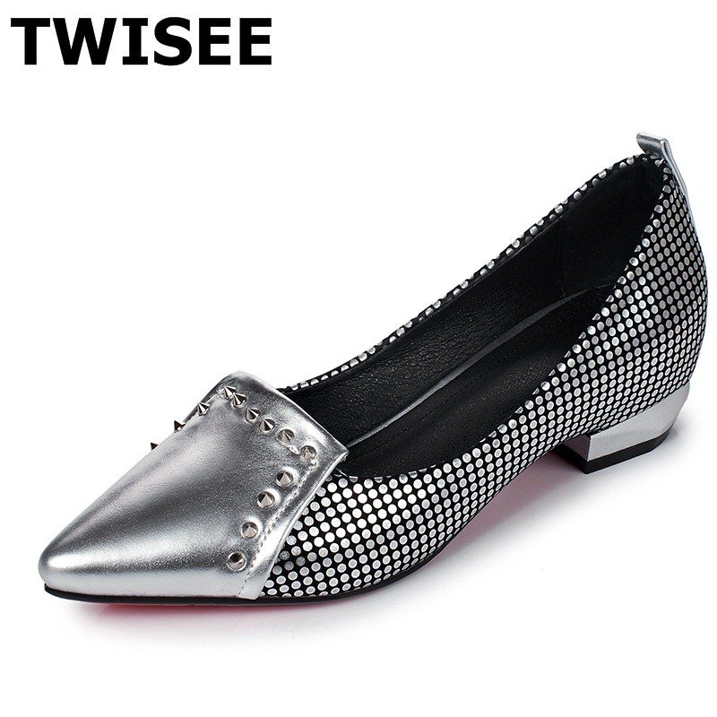 TWISEE Rivet zapatos mujer women high heels shoes Pointed Toe Beautiful Slip-On summer pumps pu leather Comfortable Square heel sweet women high quality bowtie pointed toe flock flat shoes women casual summer ladies slip on casual zapatos mujer bt123