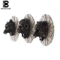 Креативная 3D имитация медведя короля Конга льва тигра волка головная фигурка настенные подвесные винтажные изделия из смолы Lucky Feng Shui домаш...