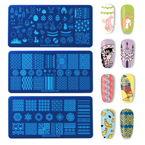 Image 4 - NICOLE DIARY Valentines Day Nail Stamp Plate Rectangle Nail Art Stamping Image Template DIY Nail Plate Geometric Print Stencil