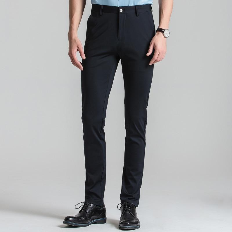 Men's Flat Front Stretch Black Dress Pants Slim-fit Straight Leg Comfortable Soft Thin Smart Casual Suit Pant Trousers For Men