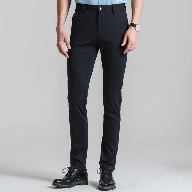 aliexpress com buy men s flat front stretch black dress pants slim