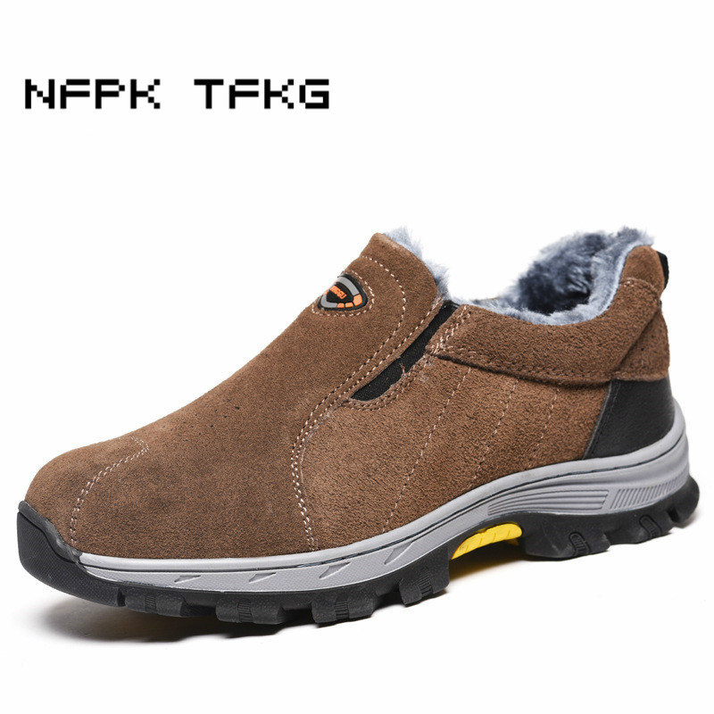 mens leisure building site worker dress big size steel toe covers working safety warm plush cotton-padded shoes winter fur boots big size winter warm leisure shoes