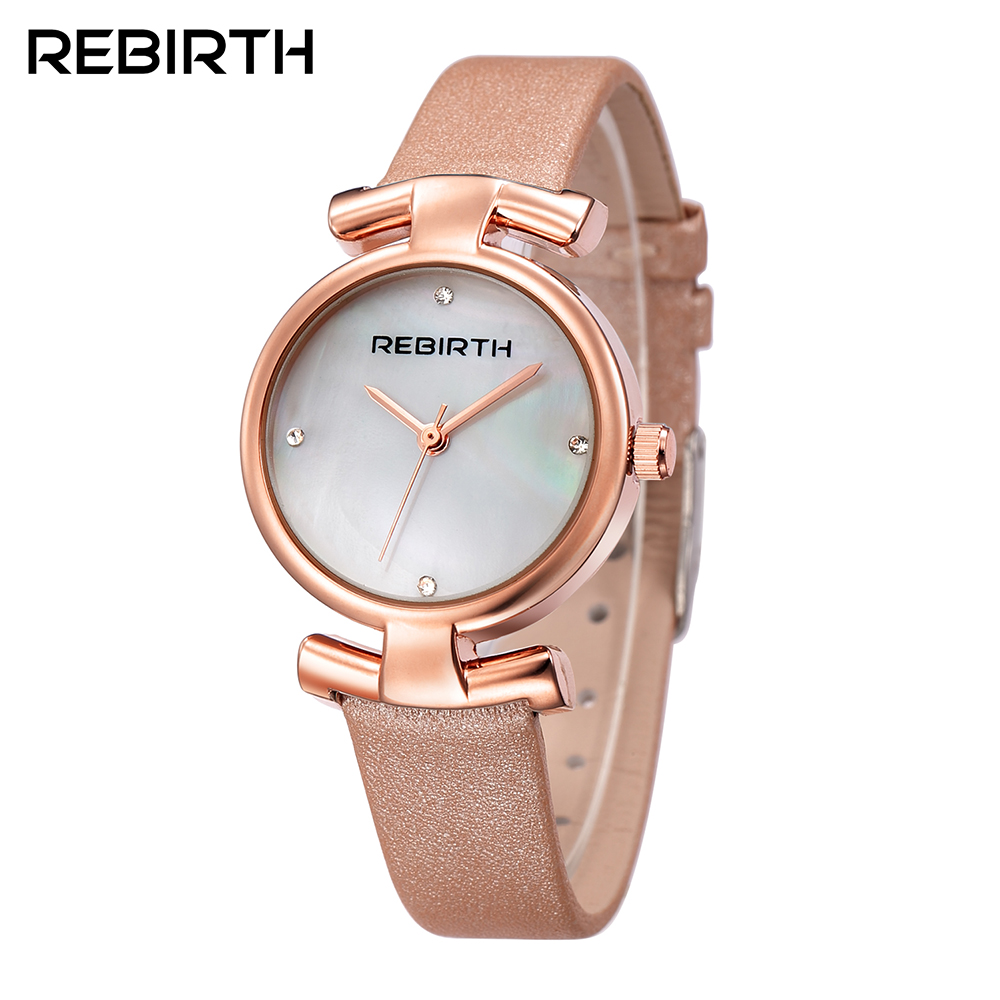 купить Luxury Brand Quartz Watch women Watches Ladies REBIRTH Leather Fashion Dress Wristwatch 5 Colour Montre Femme Relogio Feminino онлайн