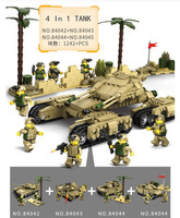 1242ps Kazi Army Model Tanks 4 In 1 Assemblage Building Blocks Set Compatible Legoed military weapon tank Building Block Kid Toy