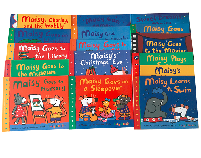 Grande taille 16 livres/ensemble Maisy sac de bain souris vague souris anglais image livre d'histoire enfants apprenant des jouets éducatifs