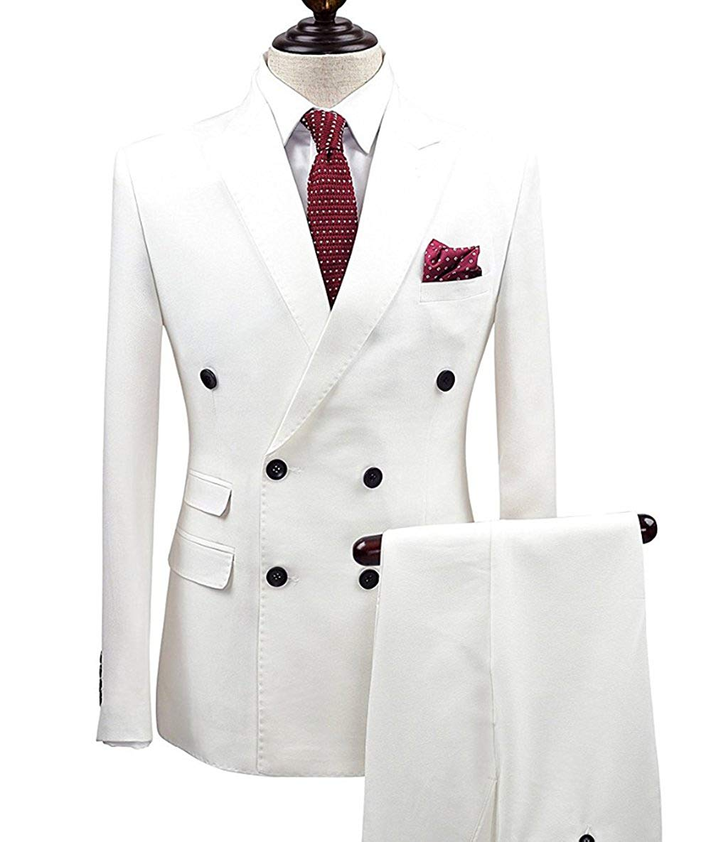 Men Suits 2 Piece Double Breasted Blazer Tuxedos Lapel For Wedding  Formal Business Suits 2019 New