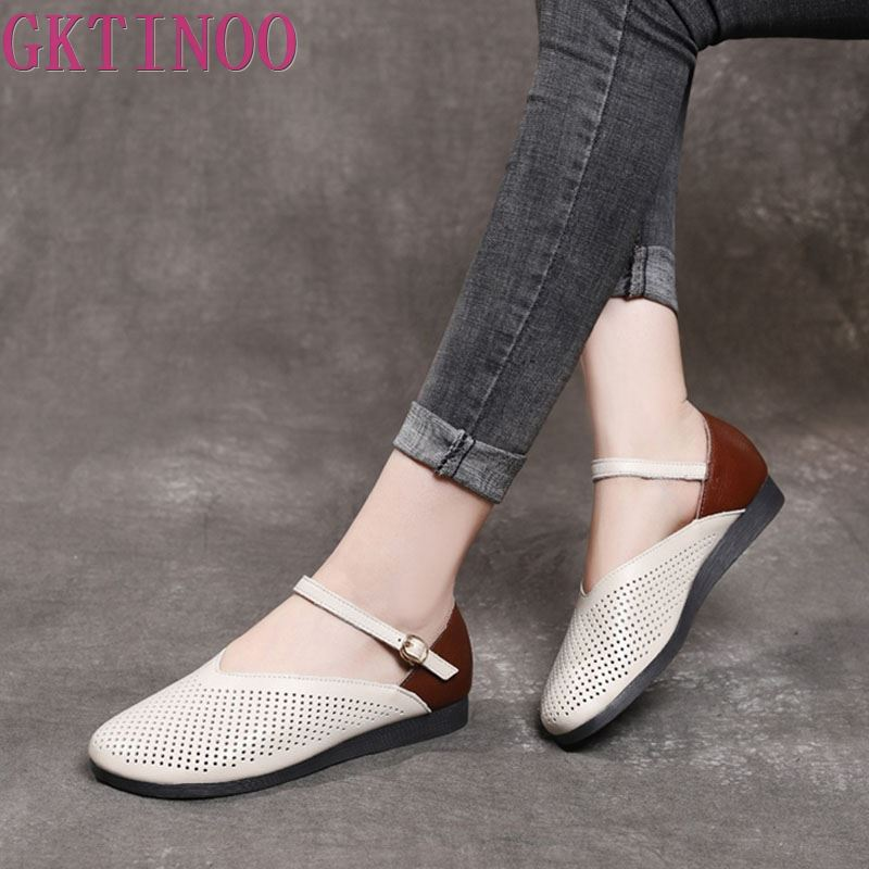 GKTINOO Fashion Women Flat Shoes Buckle Strap Shallow Breathable Summer Shoes Soft Genuine Leather Loafers Women Casual Shoes