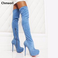 New Arrival High Platform Boots Fashion Knee High Boots Opening Toe Suede Leather Ultra High Heel