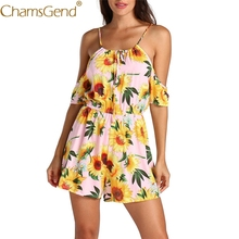 53892d0473d8 Free Shipping Women Sexy Off Shoulder Sunflower Print Strappy Jumpsuit  Holiday Playsuit Rompers 80509 Drop Shipping
