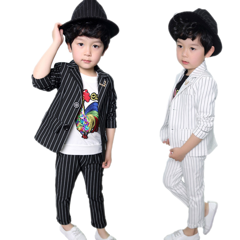 boy clothes sets spring kid clothes kids striped blazer boy suits for weddings prom formal dress wedding boys suit jackets+pants high quality school uniform new fashion baby boys kids blazers boy suit for weddings prom formal gray dress wedding boy suits