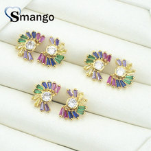 3Pairs,The Rainbow Series,The Half Round Shape Women Fashion Earring .Gold Colors, Can Wholesale
