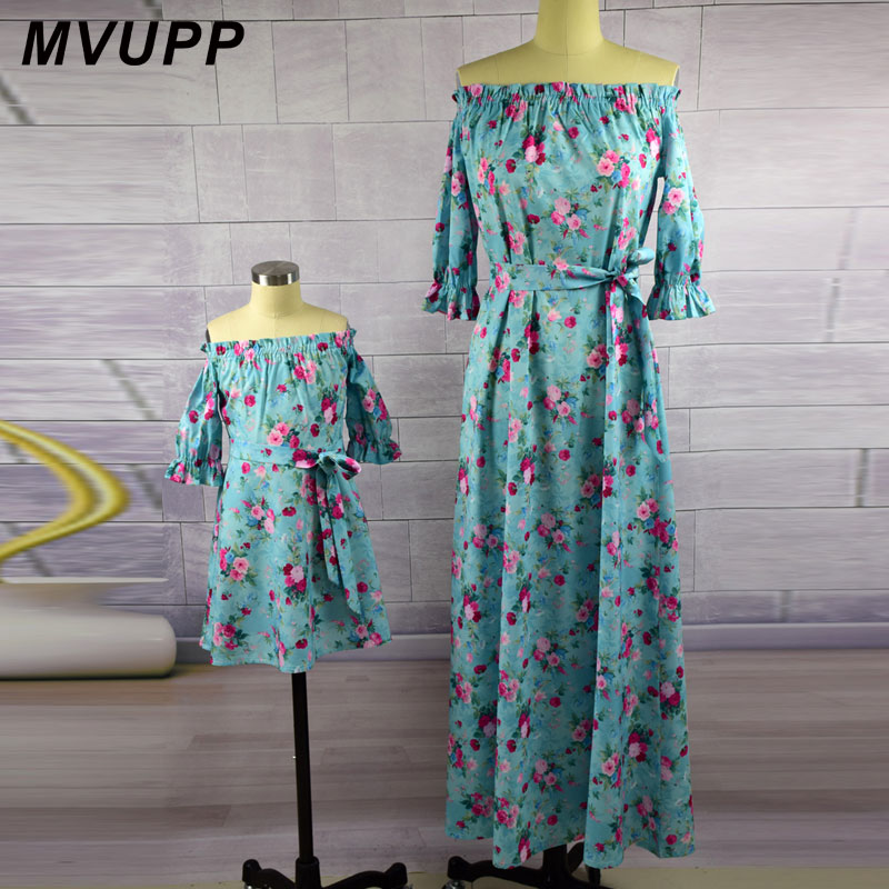 Mother daughter dresses Vintage Floral dress print Half Sleeve Family Matching Outfits mommy and me Ankle-length dress mini me 3 4 sleeve tribal print shift mini dress