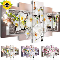 5pcs Set Diy Diamond Painting Cross Stitch Orchid Home Decoration Square Drill Full Diamond Embroidery Wall