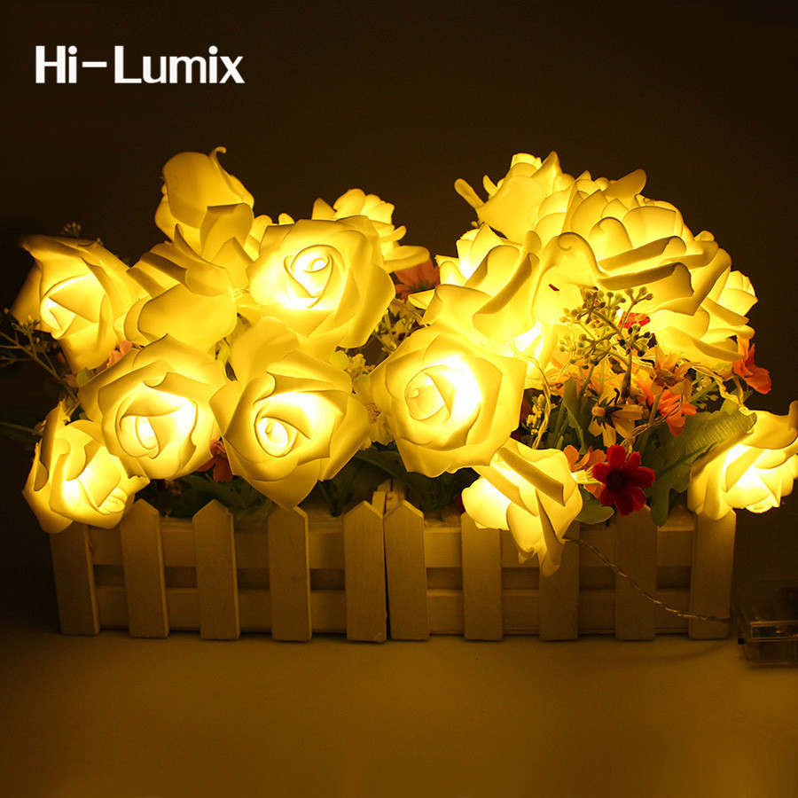 Hi-Lumix 2M 20 LED Rose Flower String Lights Battery Operated Red Pink Yellow Wedding Garden Xmas holiday fairy Decoration