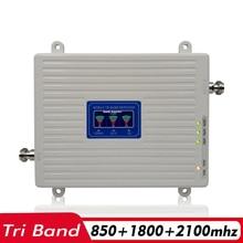 65dB 2 グラム 3 グラム 4 グラムトライバンド信号ブースター CDMA 850 + DCS/LTE 1800 + WCDMA /UMTS 2100 携帯電話の信号リピータ携帯携帯アンプ
