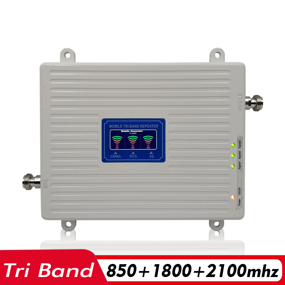 65dB 2G 3G 4G Tri Band Signal Booster CDMA 850+DCS/LTE 1800+WCDMA/UMTS 2100 Cell Phone Signal Repeater Mobile Cellular Amplifier