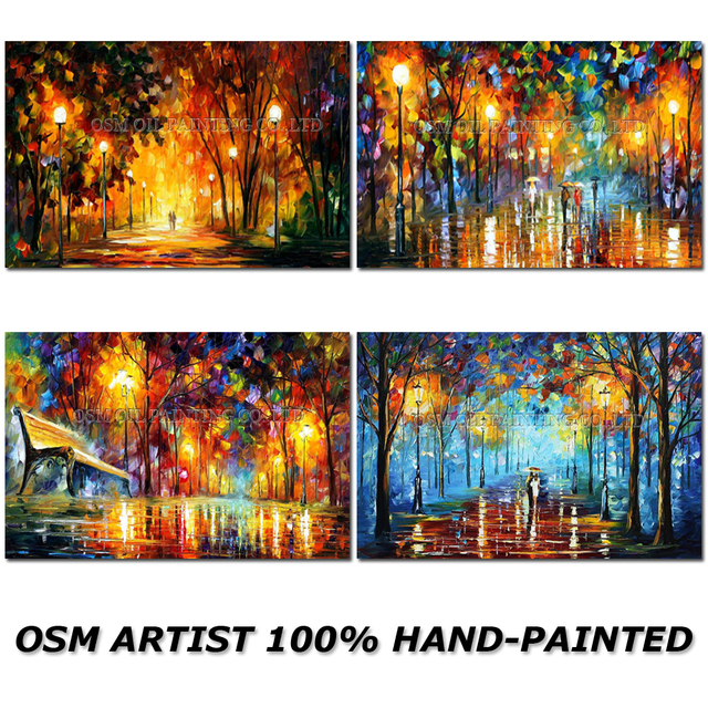 High Skills Artist Handmade High Quality Abstract Landscape Oil Painting on Canvas Bright Colorful Colour Street Oil Painting