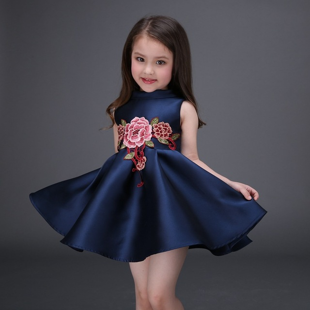 Embroidered Flower Girls Dress Cotton Princess Navy Blue Casual Ball Gown  for Kids Clothes vestidos infantis