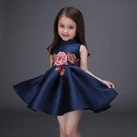 Ricamato Fiore Ragazze Vestono In Cotone Principessa Blu Navy Abito di Sfera per I Bambini Vestiti Casuali vestidos infantis taglia 100-160