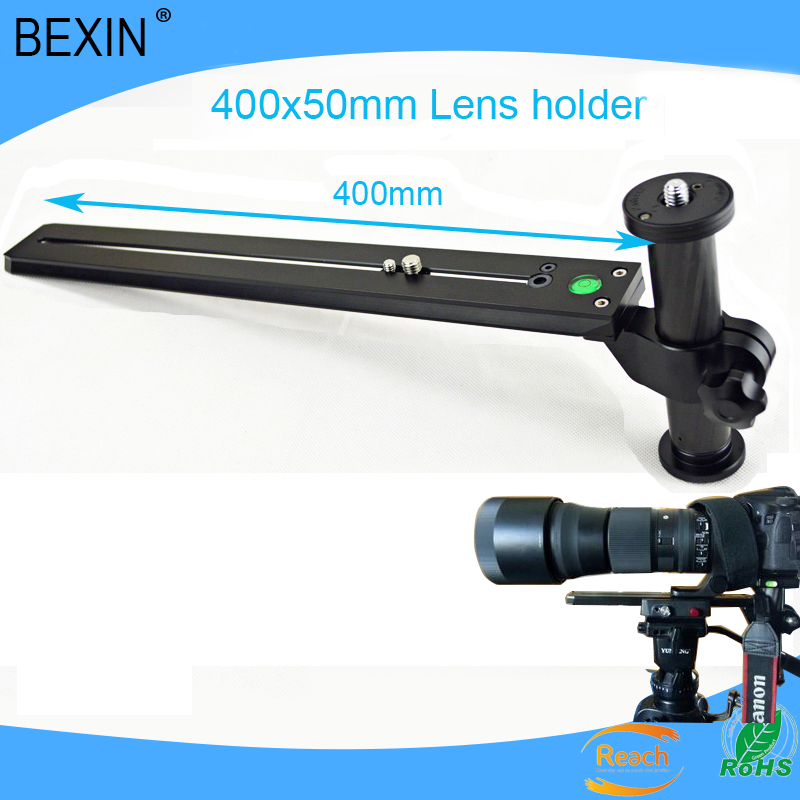 Telephoto Lens Support Bracket Holder with 400mm Long Rail Quick Release Plate 1/4 & 3/8 Mounting Screws for Manfrotto