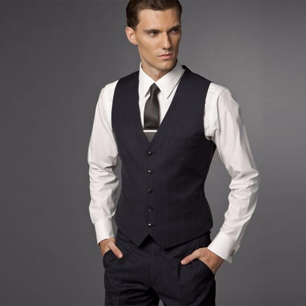 Groom Suit Wedding Suits For Men Mens Striped TuxedoTailored 3 Piece Black Tuxedos