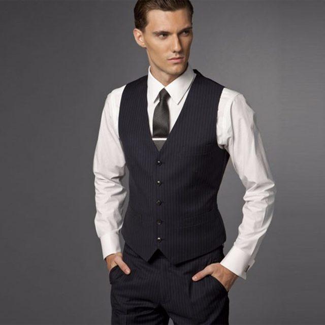 Online Shop Groom Suit Wedding Suits For Men 2018 Mens Striped Suit ...