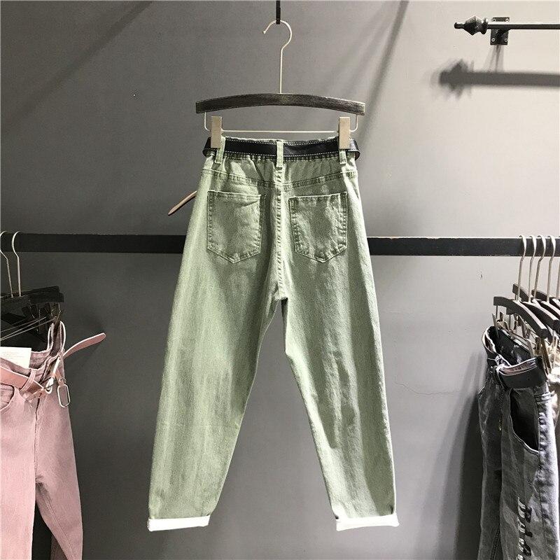 2019 frühling Mode Harem Jeans Frauen Hohe Taille Hosen Weibliche Casual Gewaschen Denim Elastische Jeans Stretch Schärpen Hosen K463-in Jeans aus Damenbekleidung bei  Gruppe 2