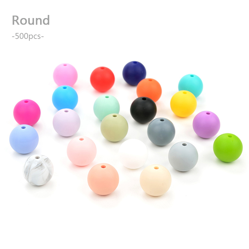 Comercio al por mayor 500 unids/lote Silicona Granos Flojos Redondos Beads Dentición Para Bebés de Silicona Dentición Collar joyería de la Categoría Alimenticia Masticable
