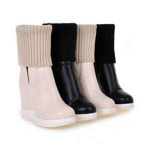 Image 4 - MORAZORA 2020 new style round toe mid calf boots women slip on Stretch boots comfortable wedges shoes woman autumn winter boots