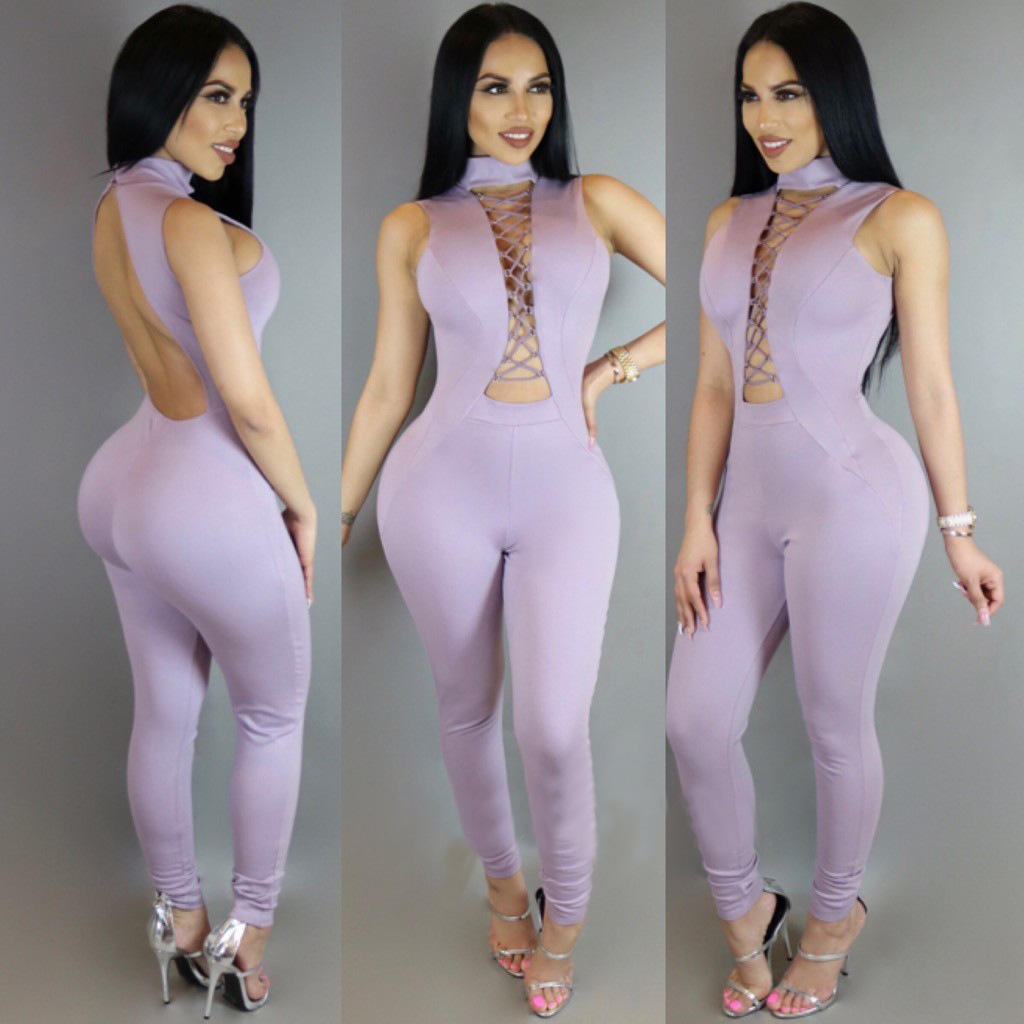 Jumpsuits for Women Summer Elegant Sexy Purple Mesh Sleeveless Hollow Out Bodycon Rompers Jumpsuit Plus Size