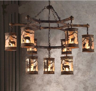 American country cafe retro Pendant Lights farmhouse restaurant industrial style creativity personality animal lamps LU80248 retro restaurant pendant lights american style cage industrial wind geometric creativity personality bar iron pendant lamp gy148