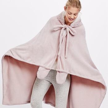 Cute Pink Comfy Blanket Sweatshirt Winter Warm Adults and Children Rabbit Ear Hooded Fleece Blanket Sleepwear Huge Bed Blankets 3
