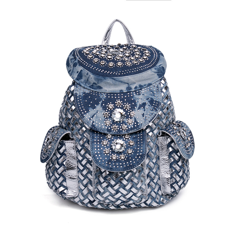 Denim Rhinestone Backpack Luxury Designer High Quality Travel Bag Women Jeans Weave Backpack Preppy Style School Bag For Girl school style designer blue jeans men loose straight denim pants high quality superably brand clothing mens buttons jeans 14113