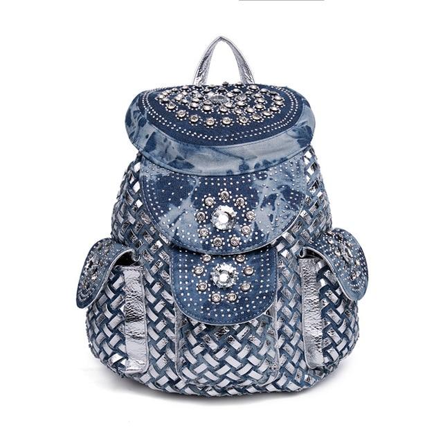 59b5d3e7db Denim Rhinestone Backpack Luxury Designer High Quality Travel Bag Women  Jeans Weave Backpack Preppy Style School