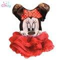 2017 New children Girl's dress Suit Minnie Mouse kids Clothing sets princess girls clothes sleeveless dress dress