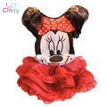 2017 Novas crianças Terno de vestido da Menina Minnie Mouse conjuntos de Roupas crianças roupas da princesa meninas vestido sem mangas vestido