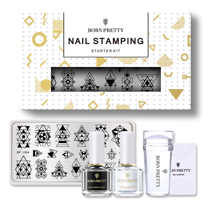 BORN PRETTY 1 Set Nail Stamping Kit Including Nail Stamping Polish + Nail Stamping Plate + Nail Clear Jelly Stamper Scraper